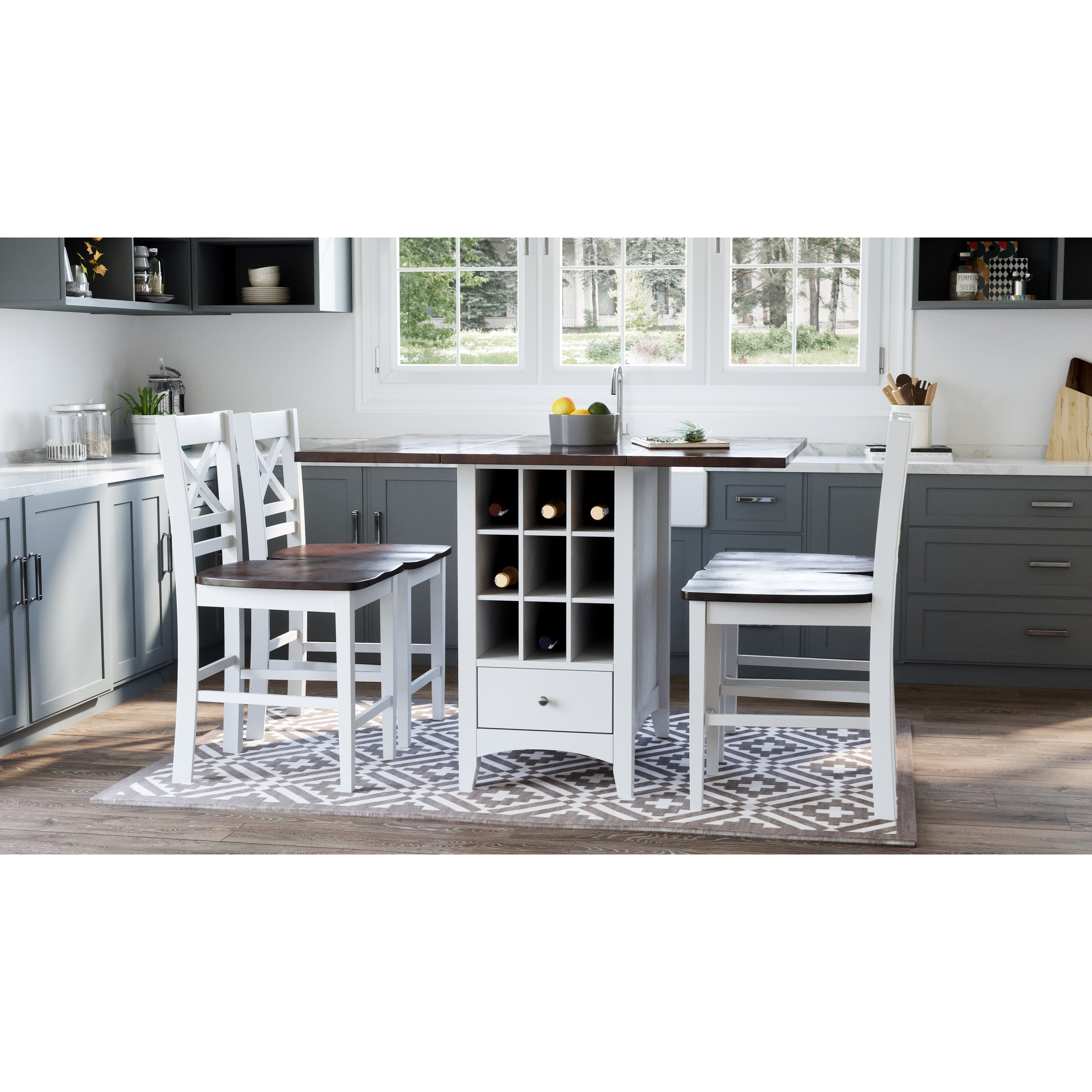 Asbury Park 5-Piece Counter Height Table and Stool Set by Jofran at Zak's Home