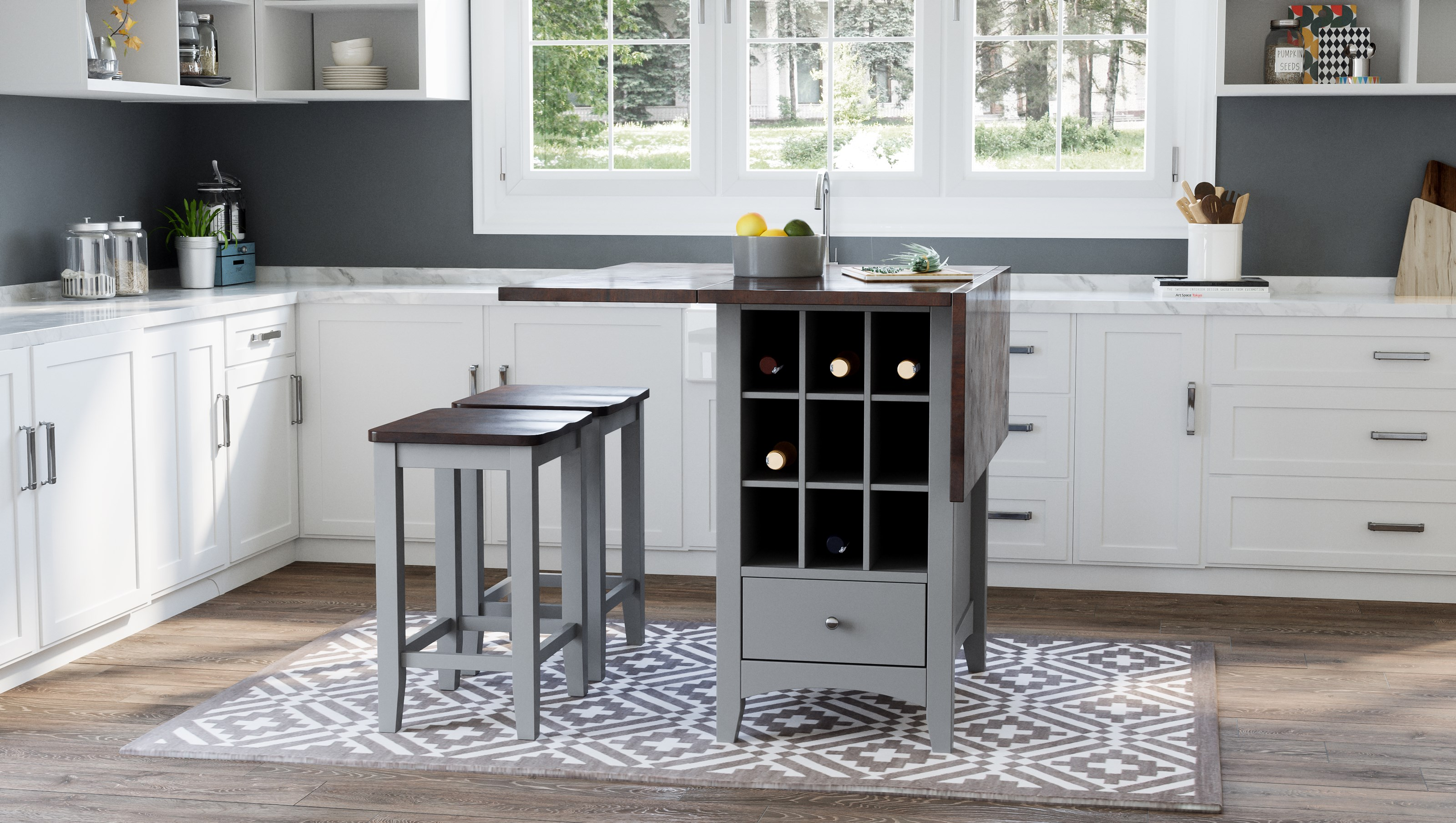 Asbury Park 3-Piece Counter Height Table and Stool Set by Jofran at Furniture and ApplianceMart