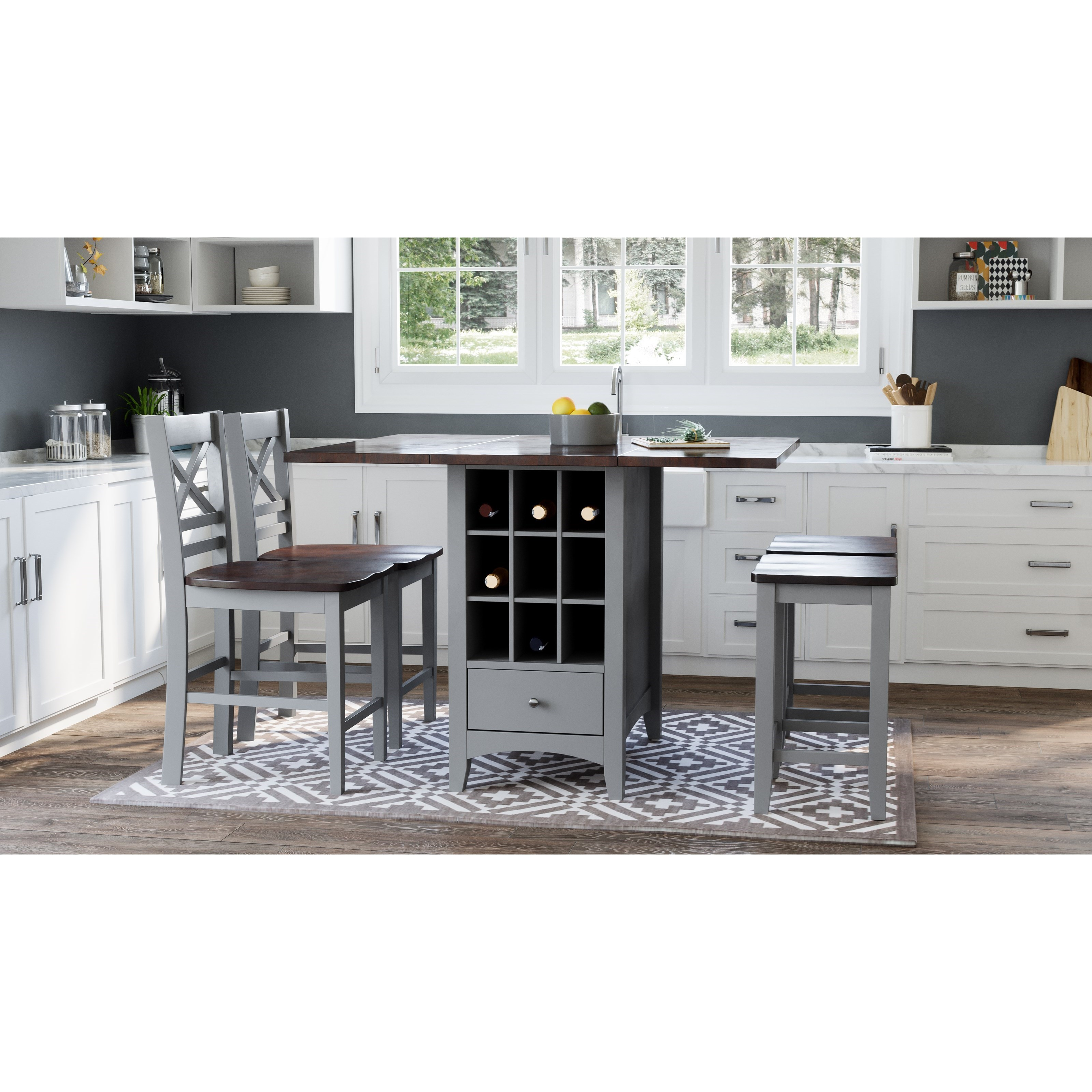 Asbury Park 5-Piece Counter Height Table and Stool Set by Jofran at Jofran