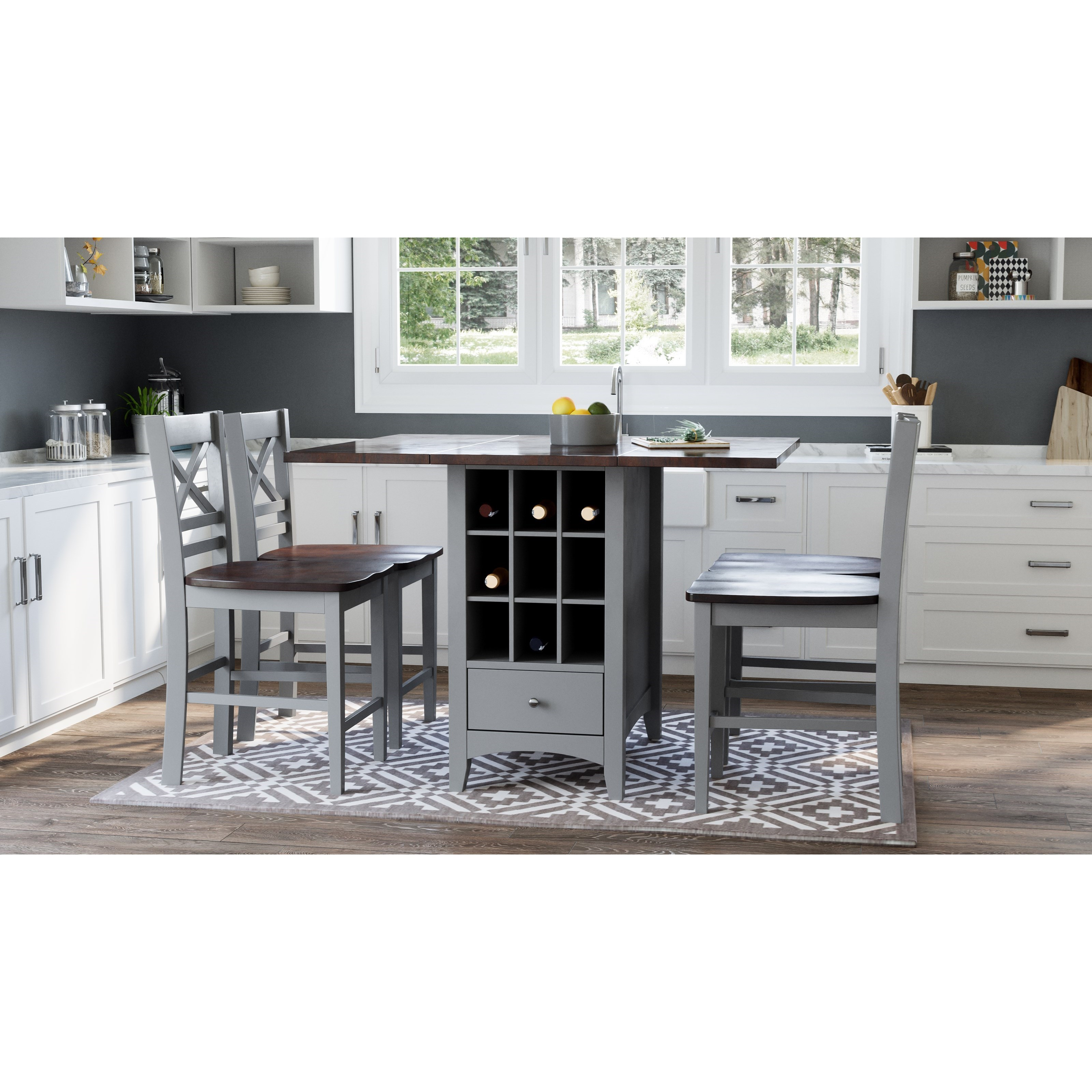 Asbury Park 5-Piece Counter Height Table and Stool Set by Jofran at Darvin Furniture