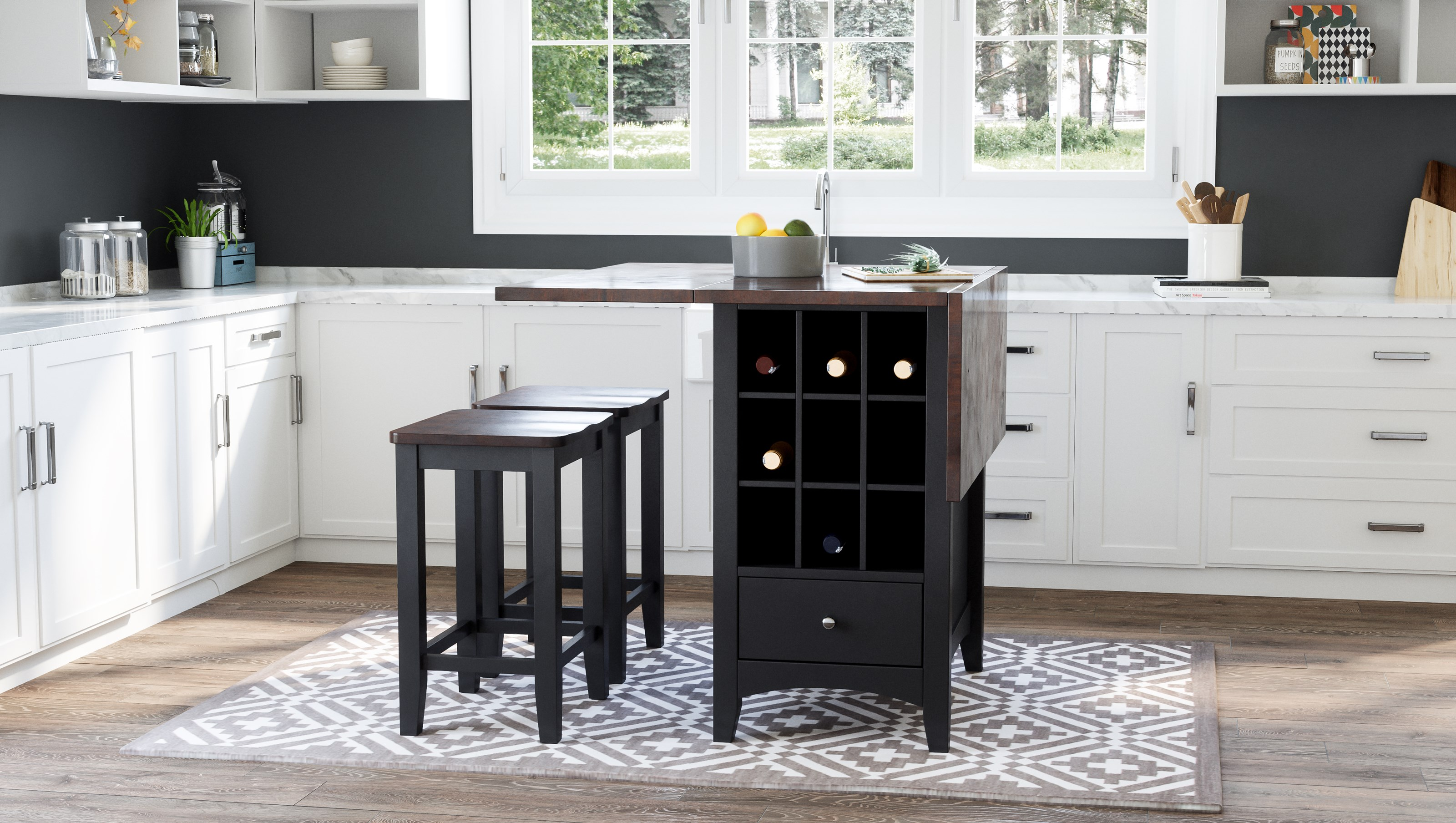 Asbury Park 3-Piece Counter Height Table and Stool Set by Jofran at Jofran