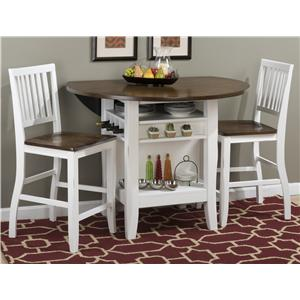 "48"" Round Counter Height Table Set with Drop-Down Leaf"