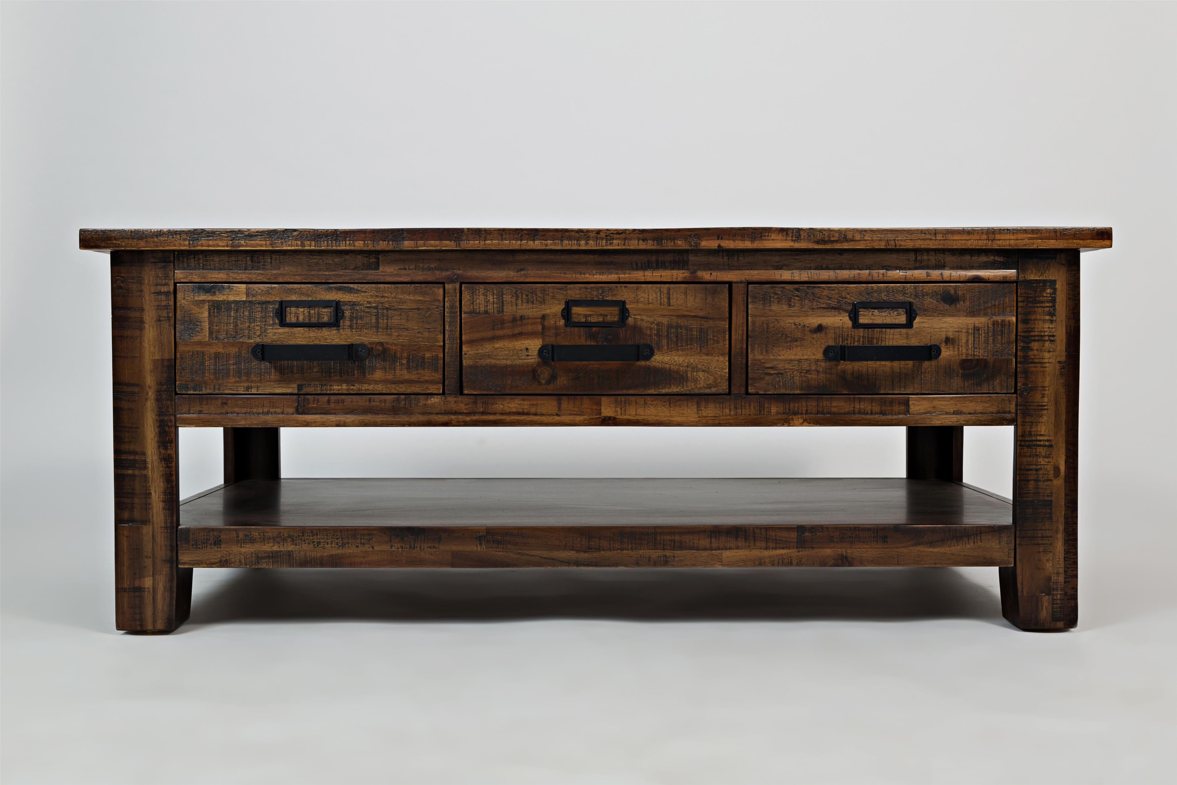 Cannon Valley Three Drawer Cocktail Table by Jofran at Stoney Creek Furniture