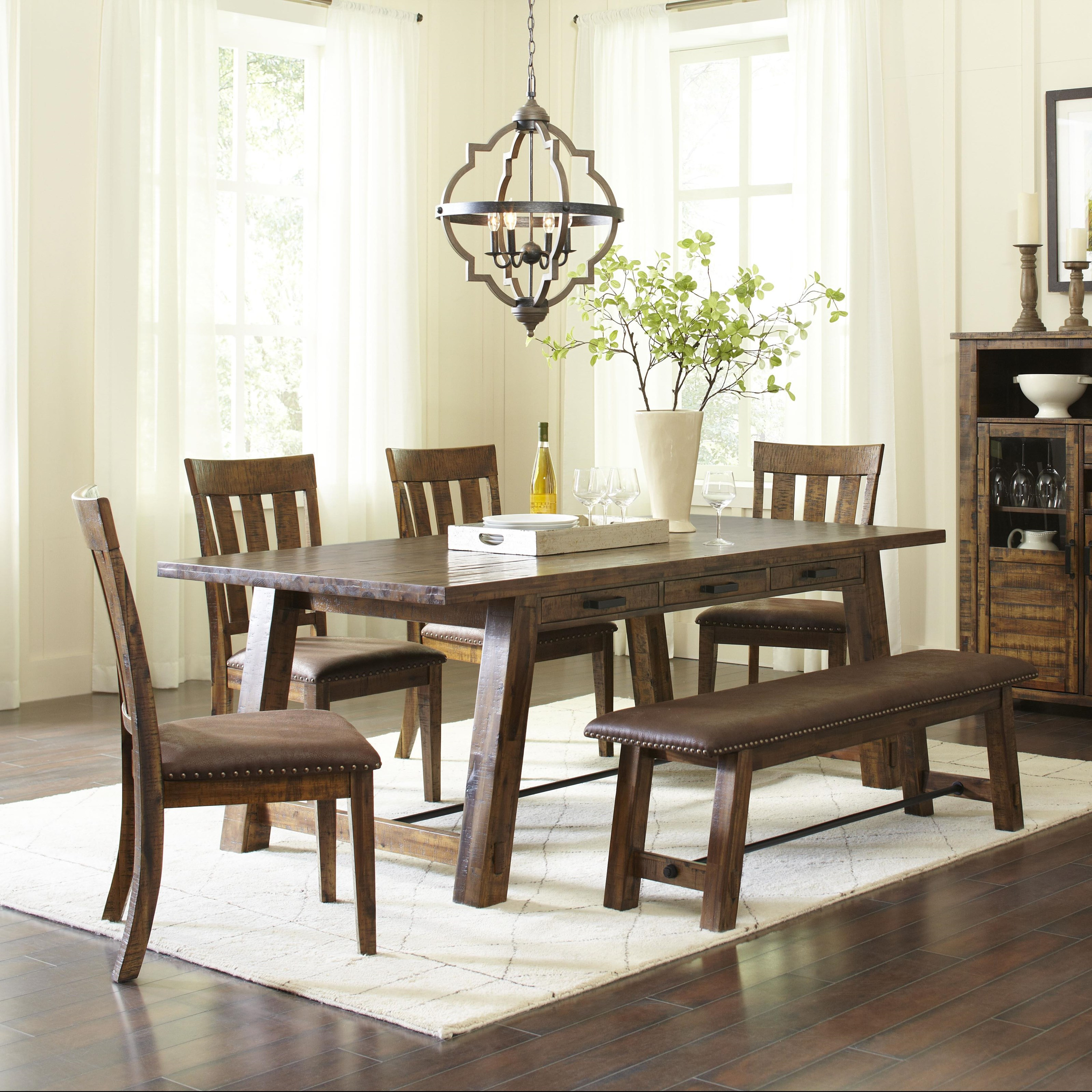 Cannon Valley Trestle Dining Table and Chair/Bench Set by Jofran at Stoney Creek Furniture