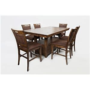 Jofran Cannon Valley High/Low Pedestal Table & 6 Side Chairs