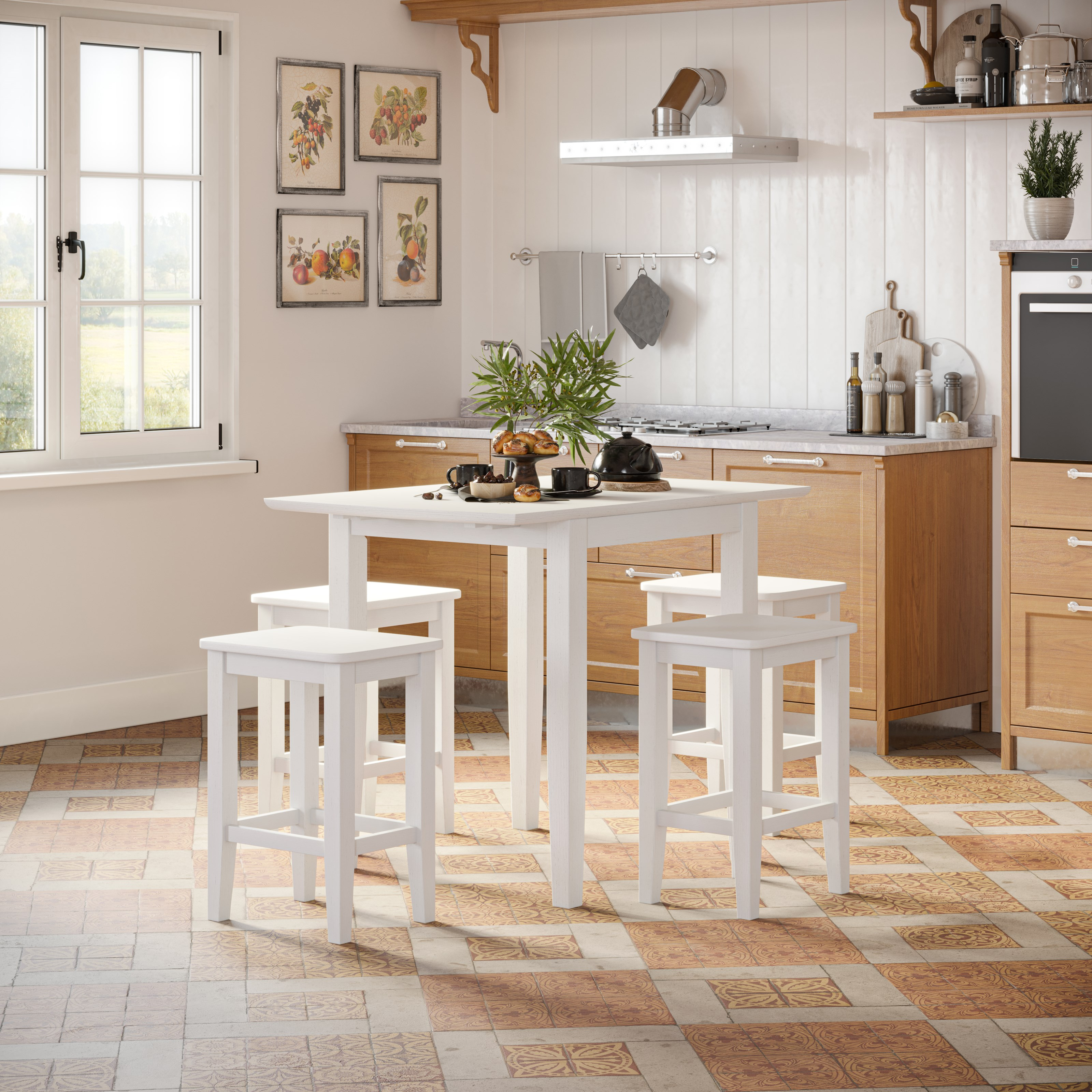 Eastern Tides 5 Piece Counter Table and Stool Set by Jofran at Jofran