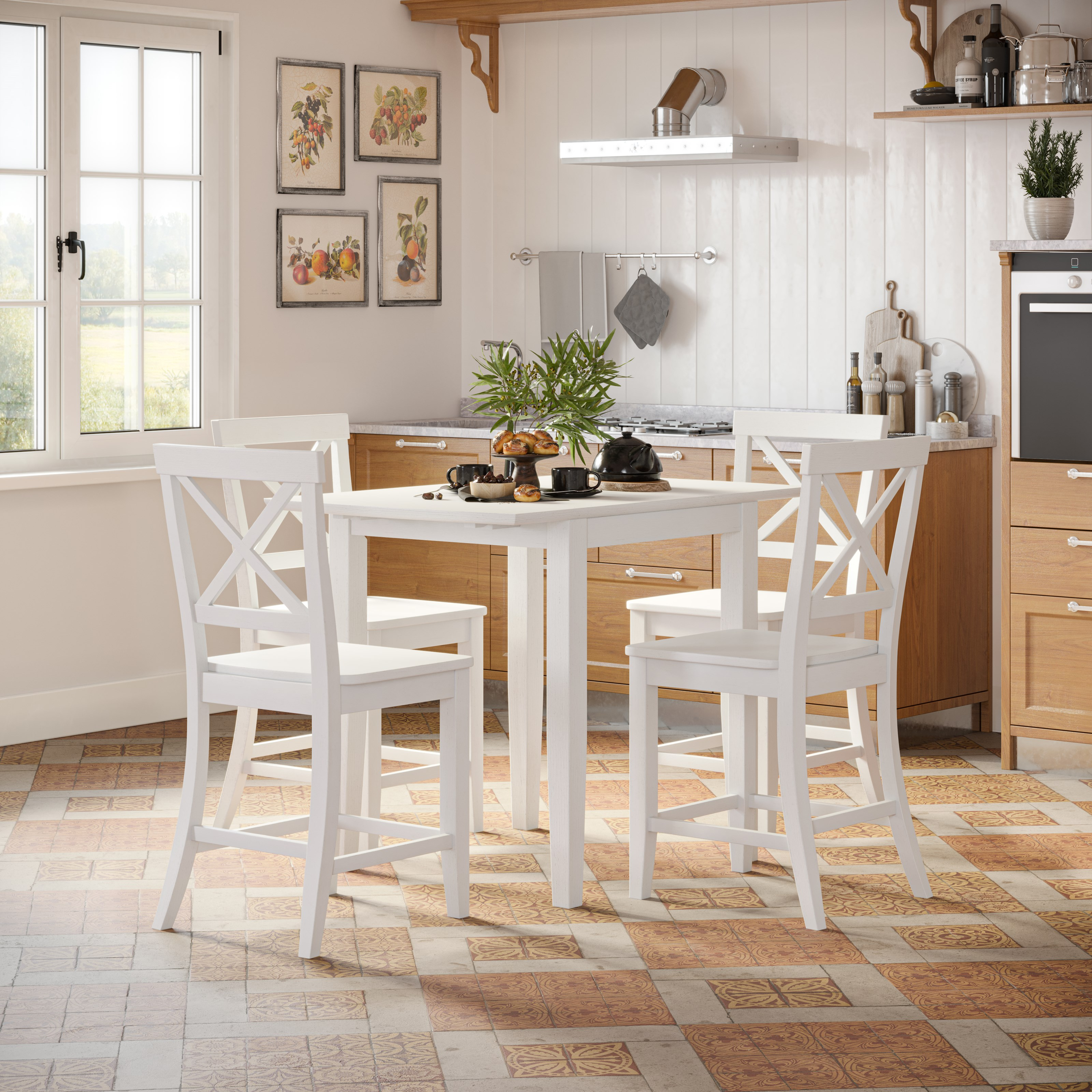 Eastern Tides 5 Piece Counter Table and Stool Set by Jofran at Mueller Furniture