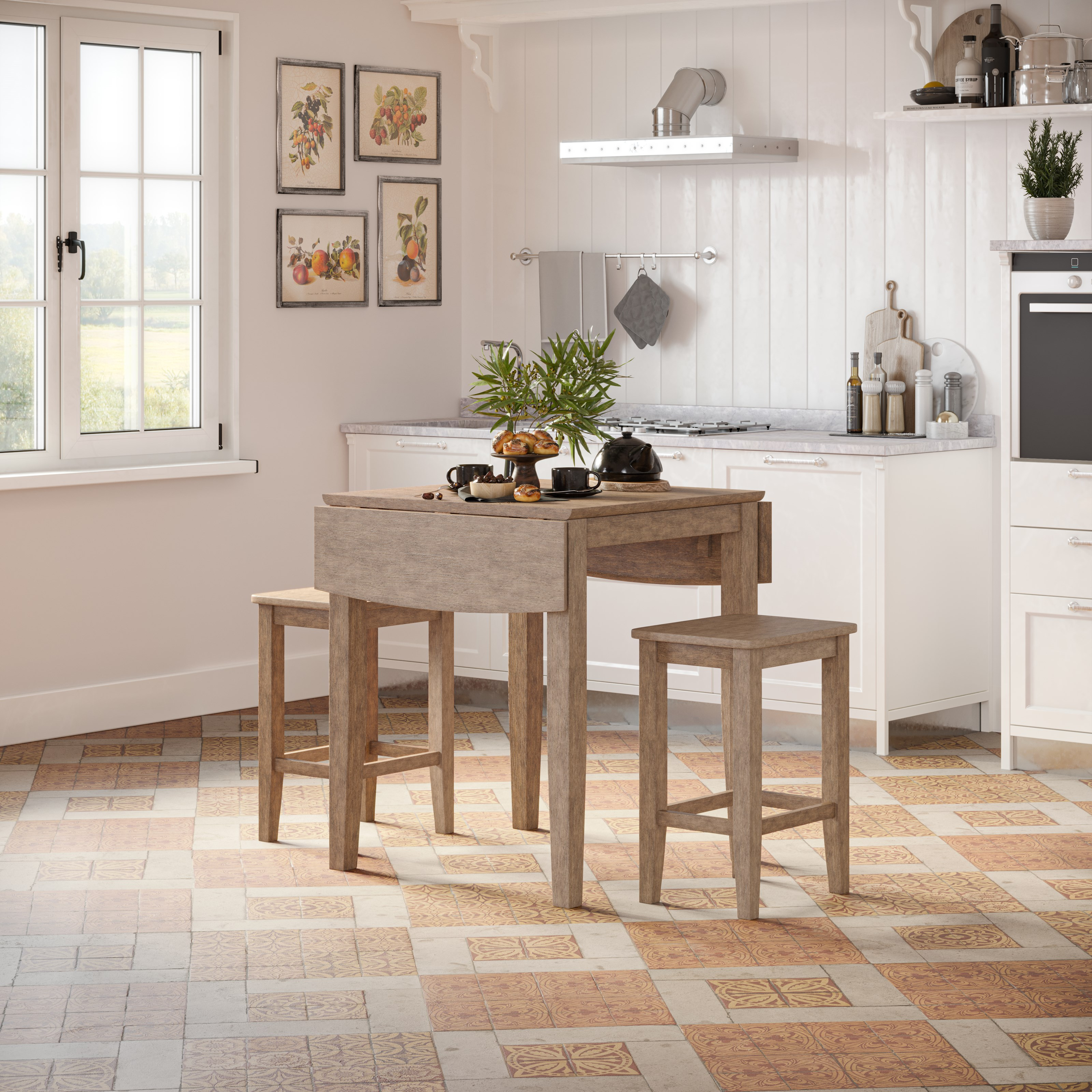 Eastern Tides 3 Piece Counter Table and Stool Set by Jofran at Jofran