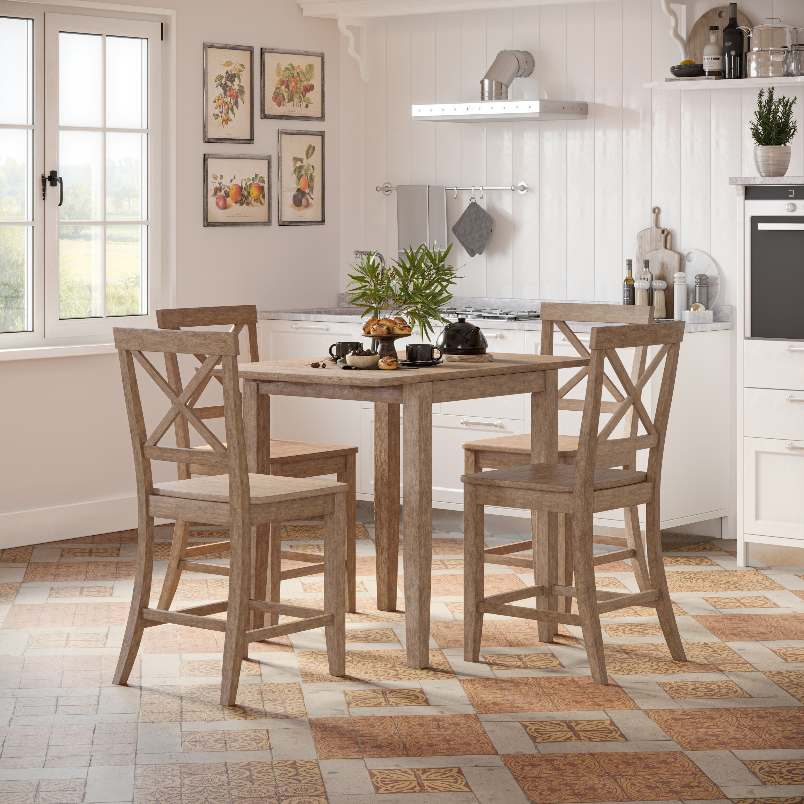 Eastern Tides 5 Piece Counter Table and Stool Set by VFM Signature at Virginia Furniture Market