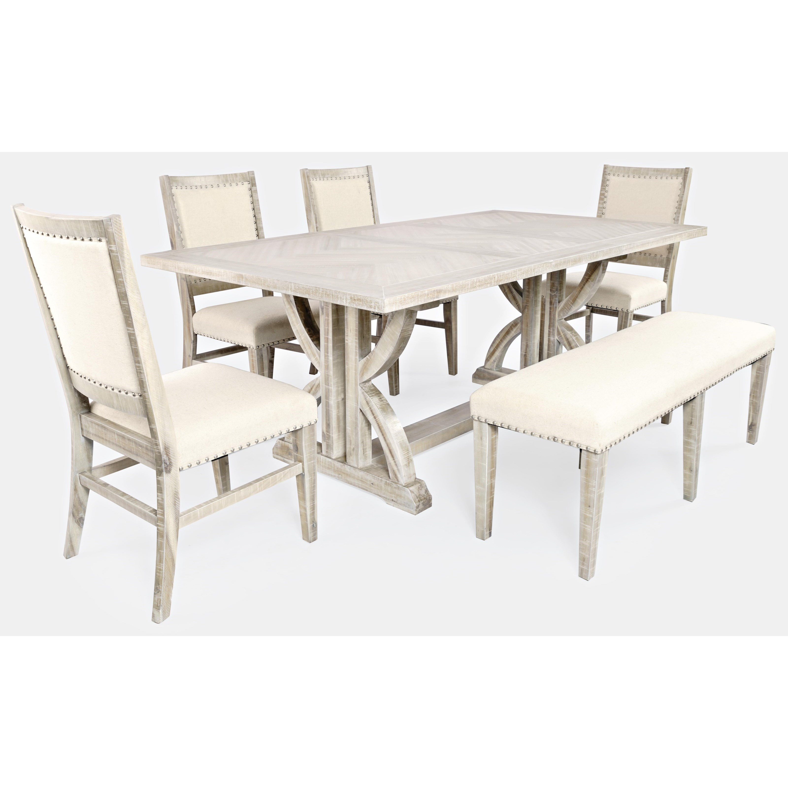 Fairview Dining Table and Chair Set with Bench by Jofran at Jofran