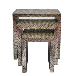 Capiz Basket Weave Nesting Tables (Set of 3)