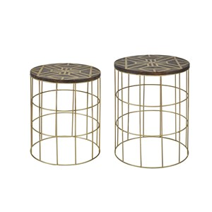 Set of 2 Mango and Brass Accent Tables