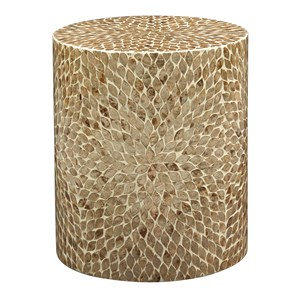 Round Capiz Accent Table
