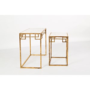 Marble and Matte Gold Nesting Tables (Set of 2)