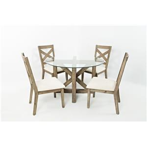 5PC Round Glass-Top Dining Table and Chair Set