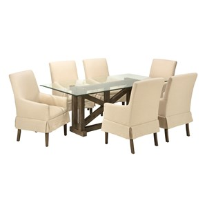 Jofran Hampton Road Glass Top Table with Six Chairs