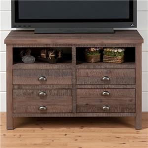 "42"" Media Unit with Four Drawers and Open Storage"