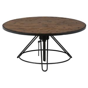 Distressed Round Cocktail Table with Adjustable Height