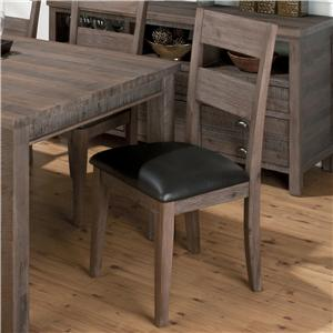 Slat Back Side Chair for Kitchens with Upholstered Seat