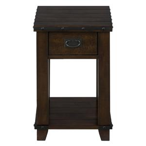 Jofran Cassidy Brown Plank Top Chairside Table