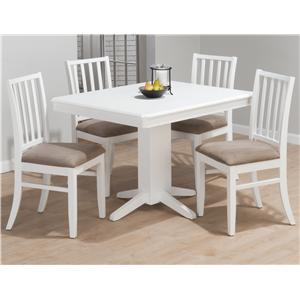 5-Piece Casual Pedestal Table & Stephie Side Chair Dining Set