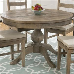 Jofran Slater Mill Pine Round to Oval Dining Table