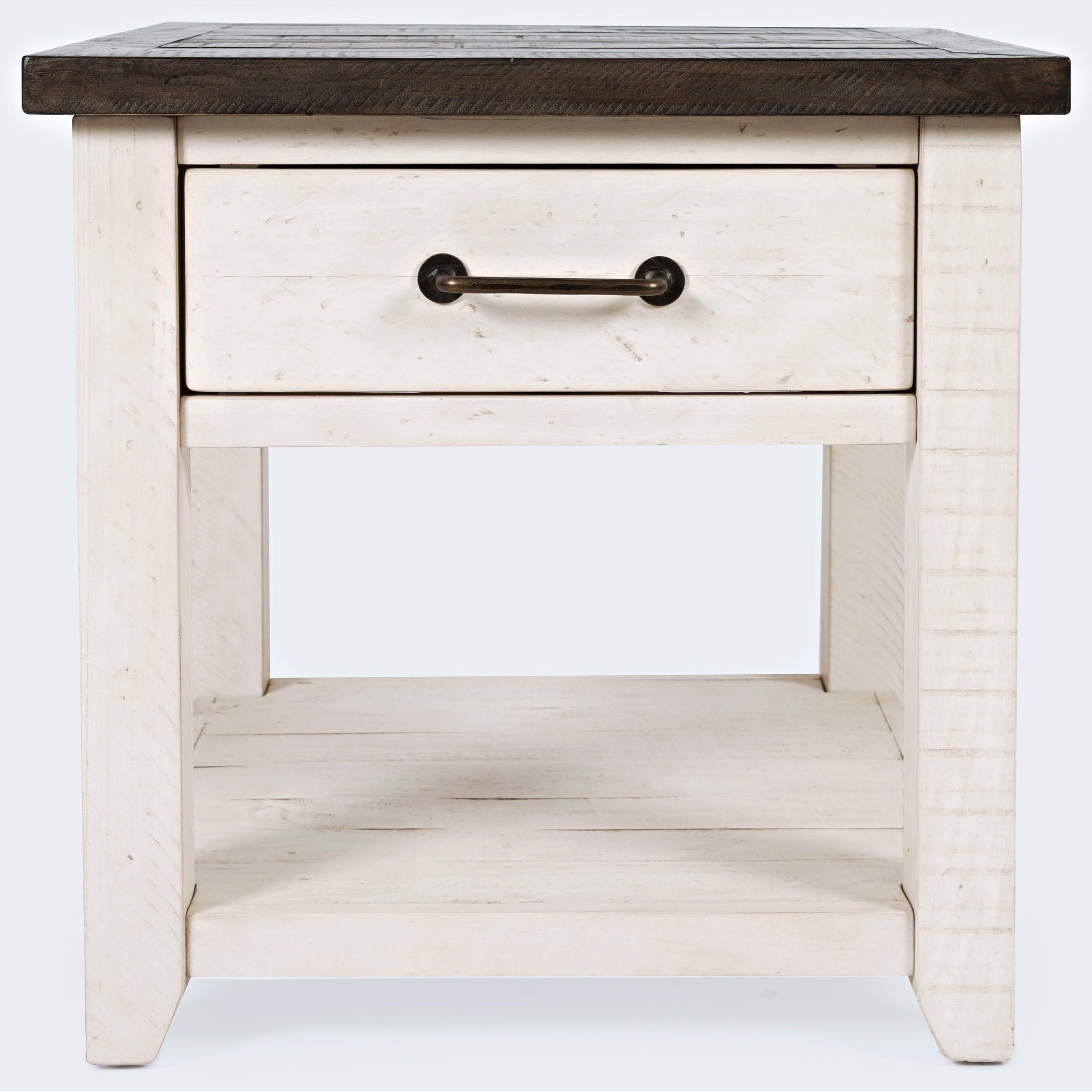 Canton White Banton End Table-Vintage White  at Walker's Furniture