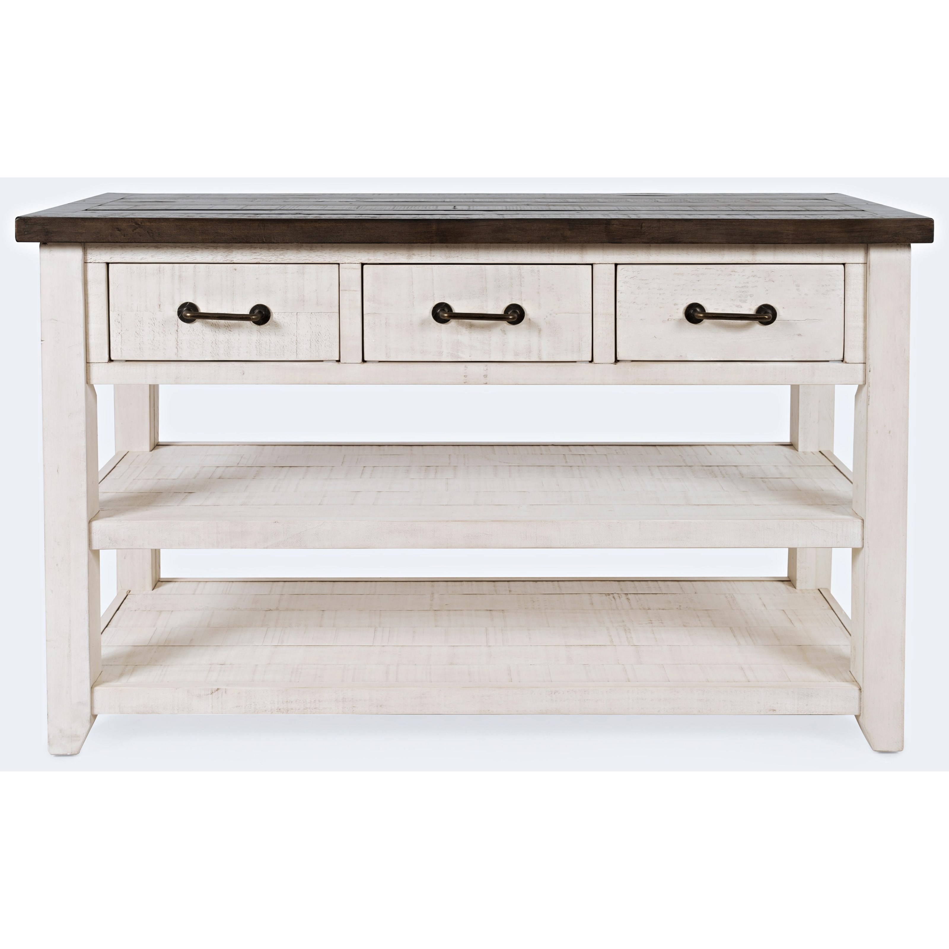 Madison County 3 Drawer Console-Vintage White by Jofran at Jofran
