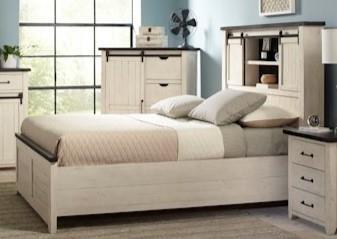 Canton White Queen Barn Door Bed at Walker's Furniture