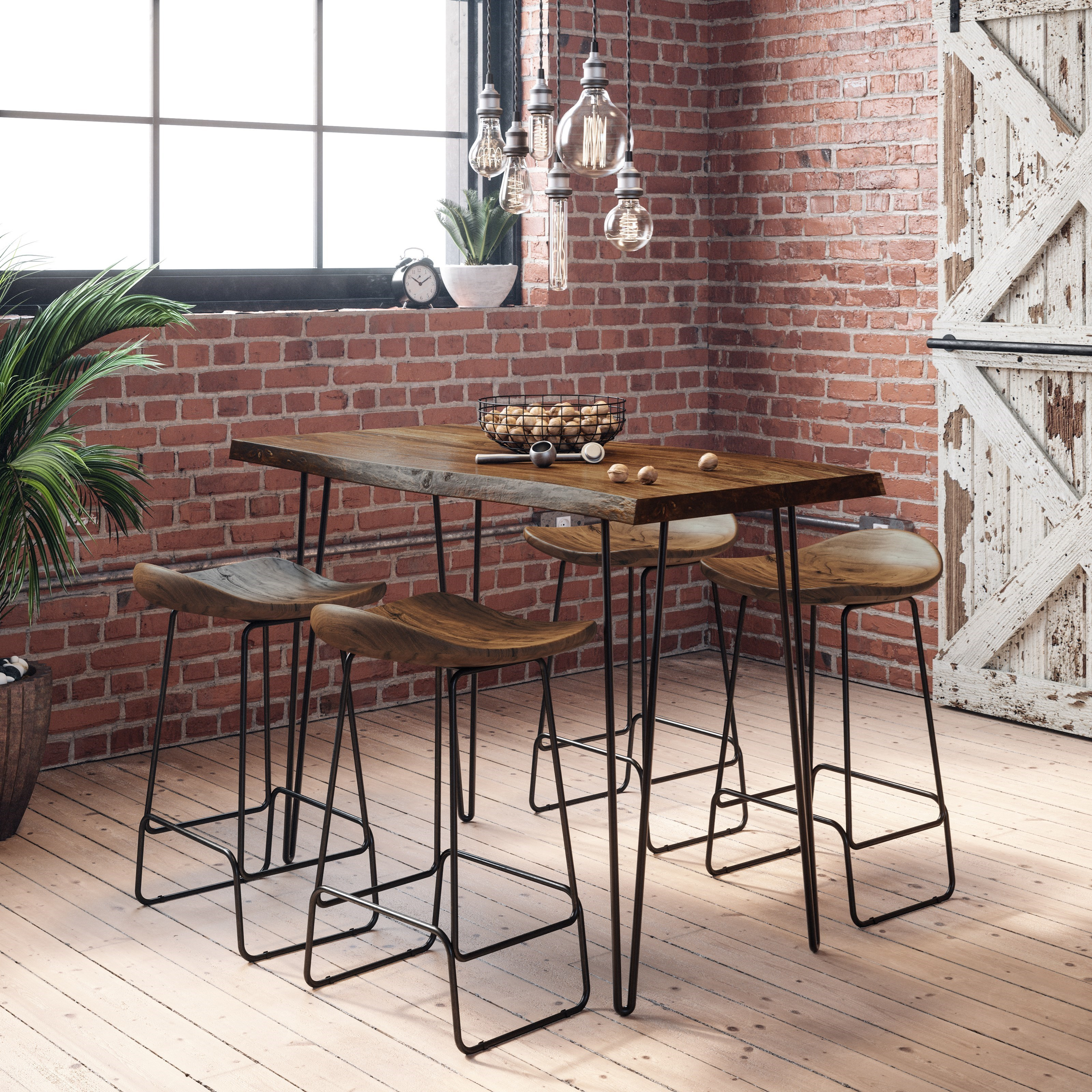 Nature's Edge 5-Piece Counter Table and Stool Set by Jofran at Stuckey Furniture
