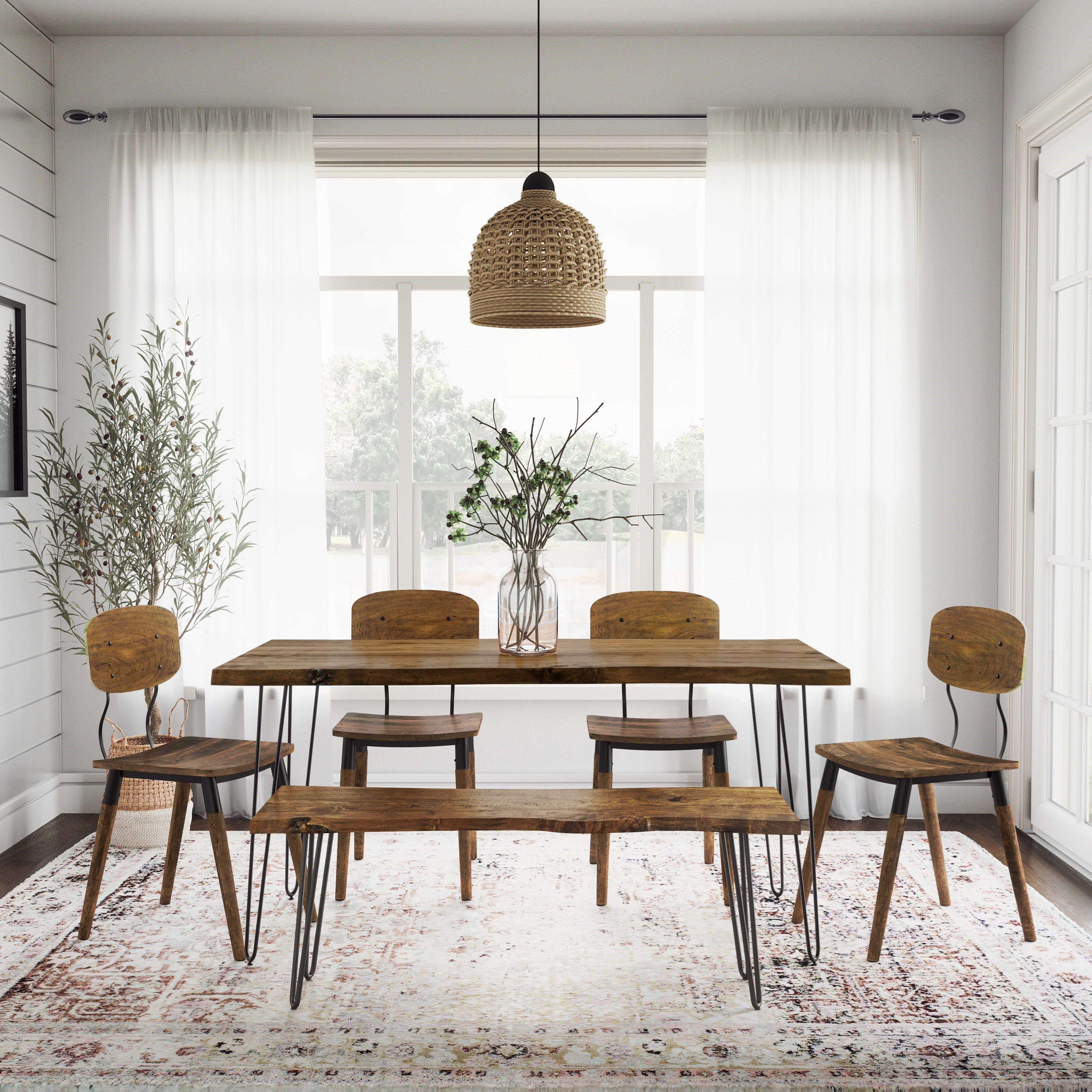 Nature's Edge 6 Piece Table and Chair Set with Bench by Jofran at Jofran
