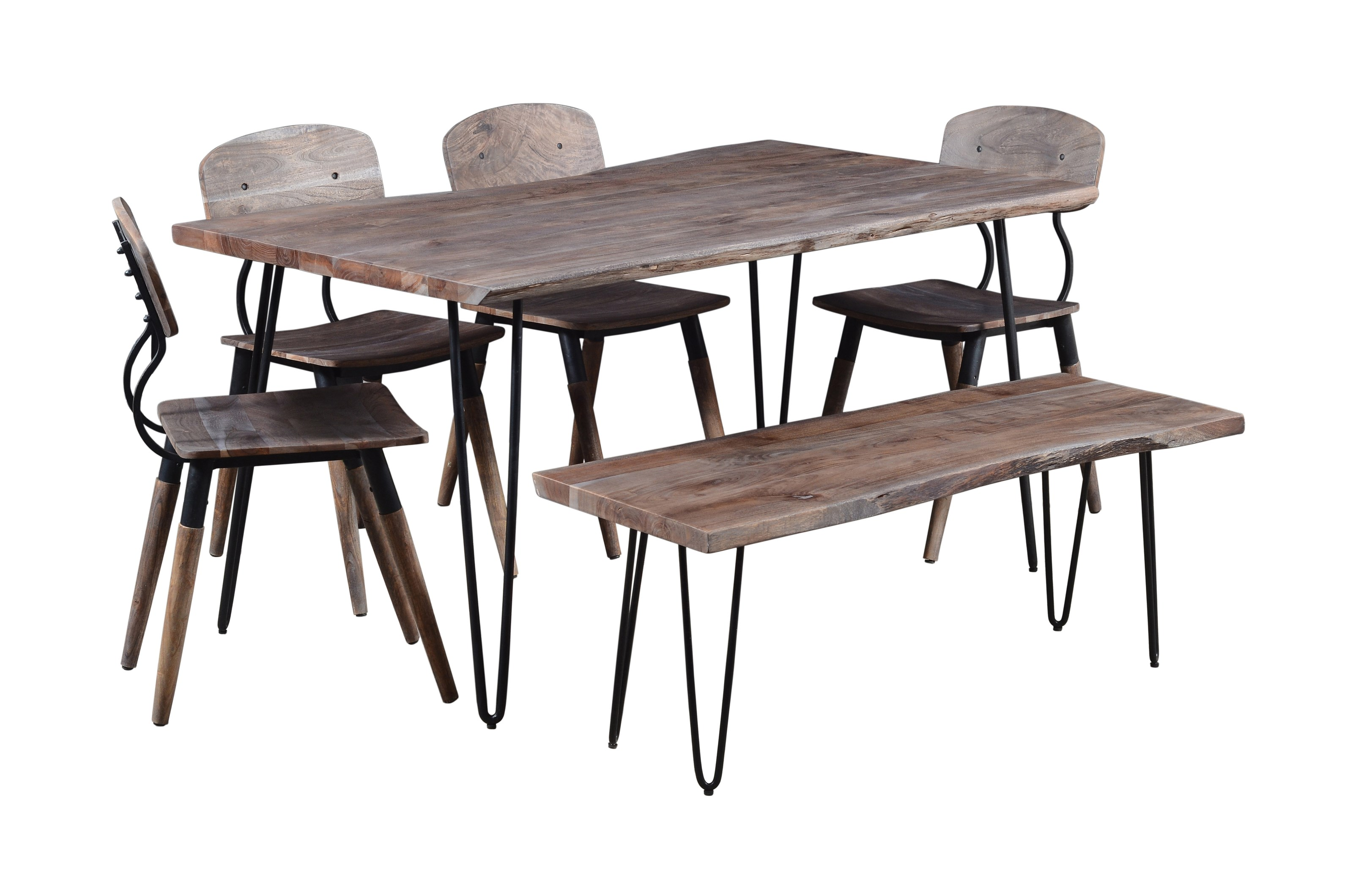 "Nature's Edge 60"" Dining Table with 4 Chairs and Bench by Jofran at Jofran"