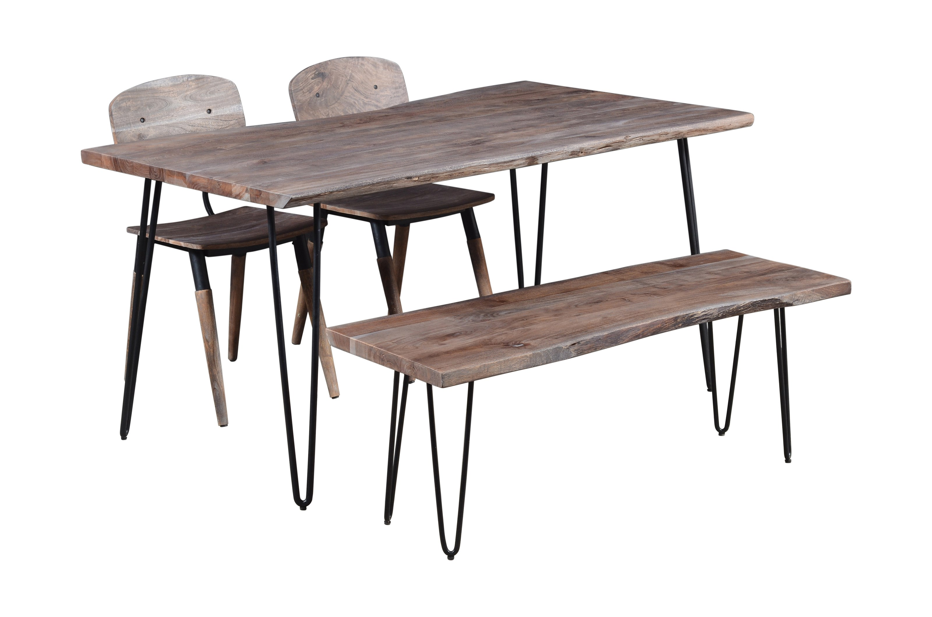 """Nature's Edge 60"""" Dining Table with 2 Chairs and Bench by Jofran at Jofran"""
