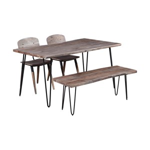 """60"""" Dining Table with 2 Chairs and Bench"""