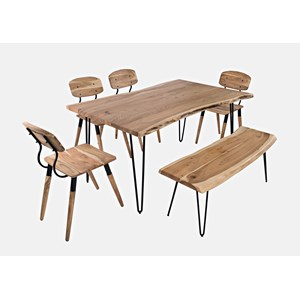 """60"""" Dining Table with 4 Chairs and Bench"""