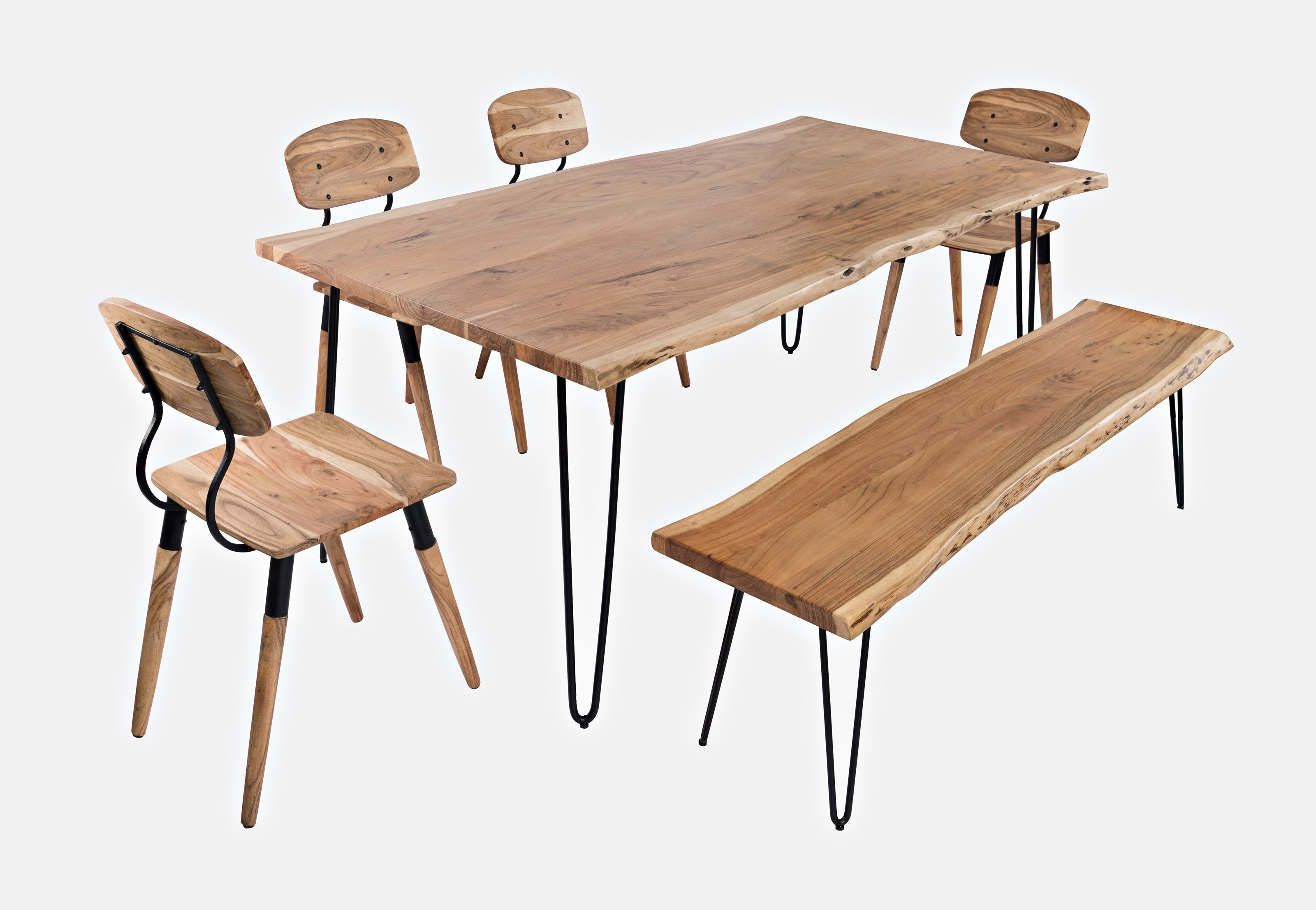 """Nature's Edge 79"""" Dining Table with 4 Chairs and Bench by Jofran at Jofran"""