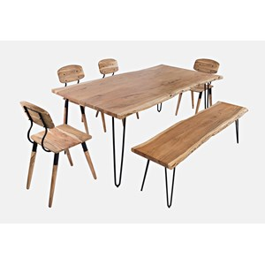 """79"""" Dining Table with 4 Chairs and Bench"""