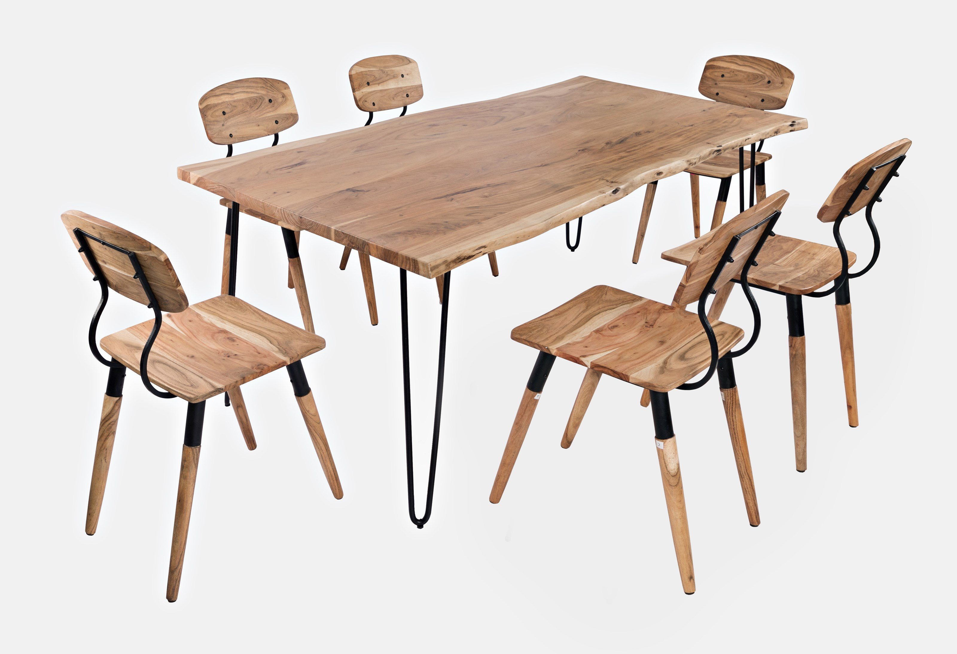 """Nature's Edge 79"""" Dining Table with 6 Chairs by VFM Signature at Virginia Furniture Market"""