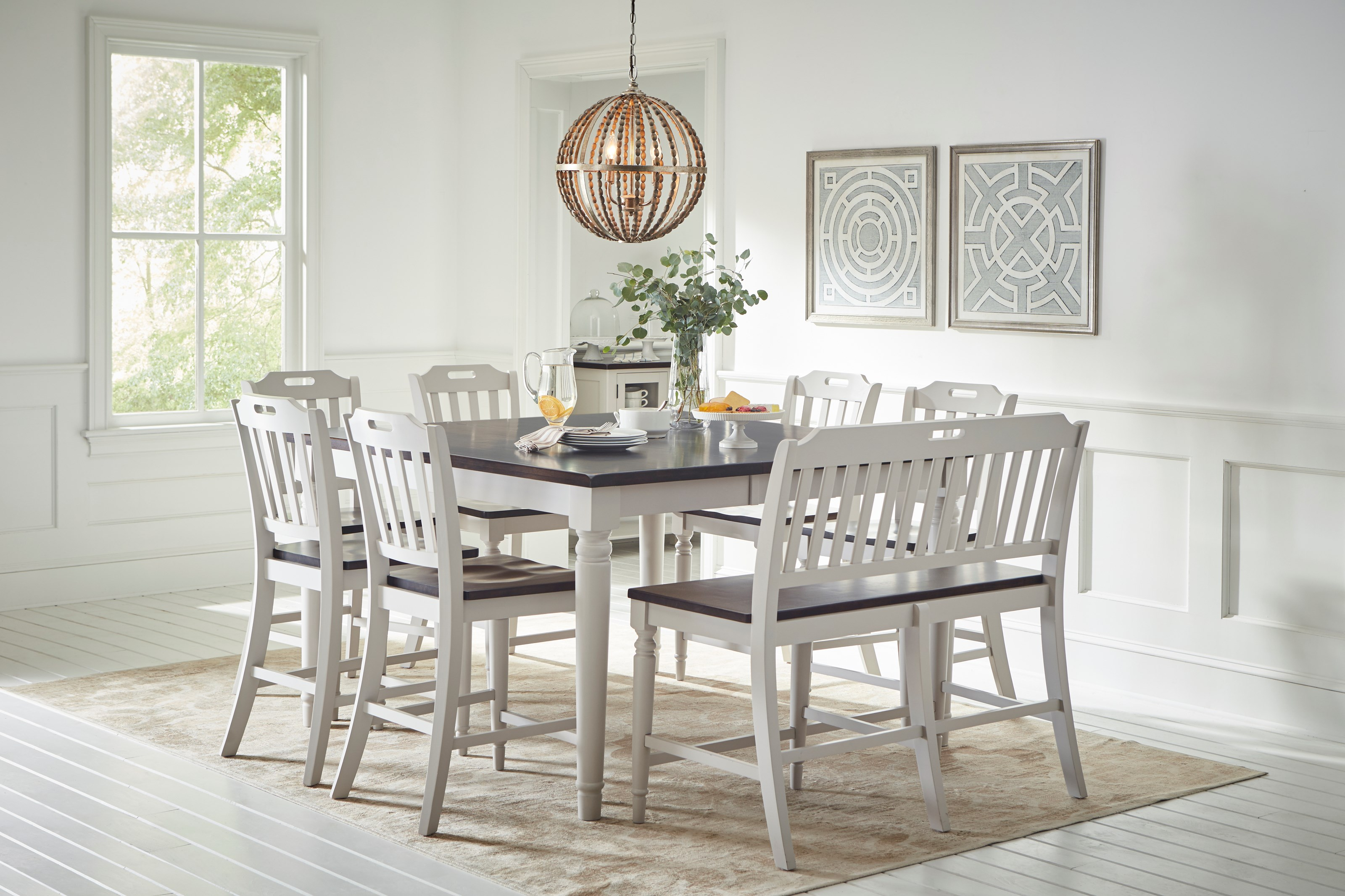 Orchard Park Counter Height Table w/ 6 Chairs & Bench by Jofran at Jofran