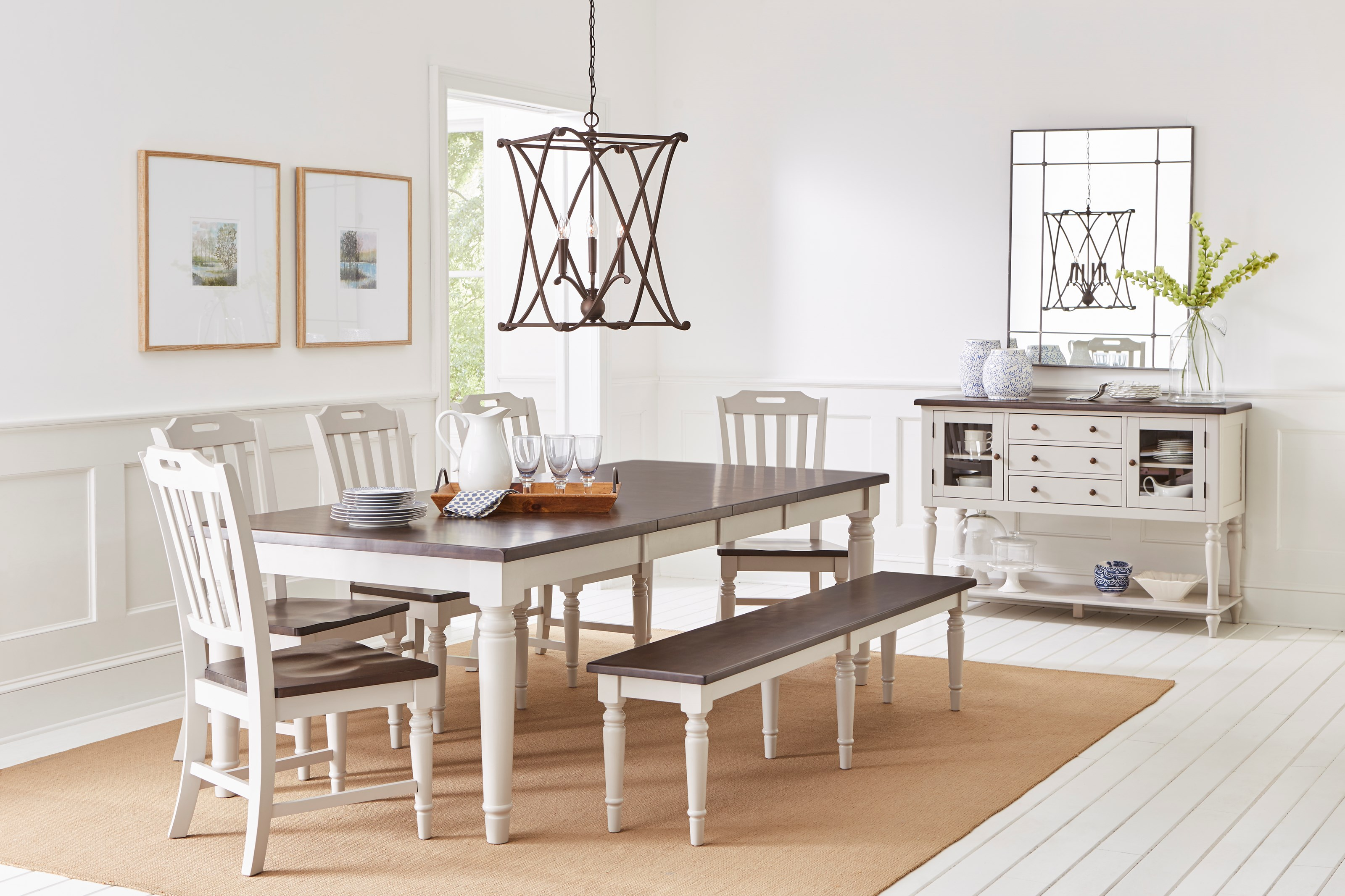 Orchard Park Dining Table with 6 Chairs and Bench by Jofran at Jofran