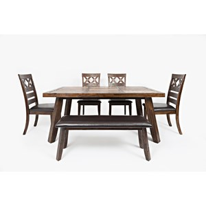 Jofran Painted Canyon Table with Four Chairs and Bench