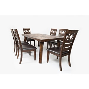 Jofran Painted Canyon Table with Six Chairs