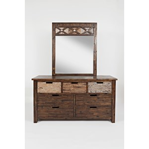 Jofran Painted Canyon Dresser & Mirror