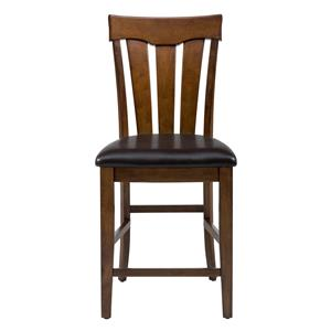 Jofran Plantation Slat Back Stool with Upholstered Seat