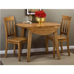Round Table and 2 Chair Set (with Slat Back Chairs)