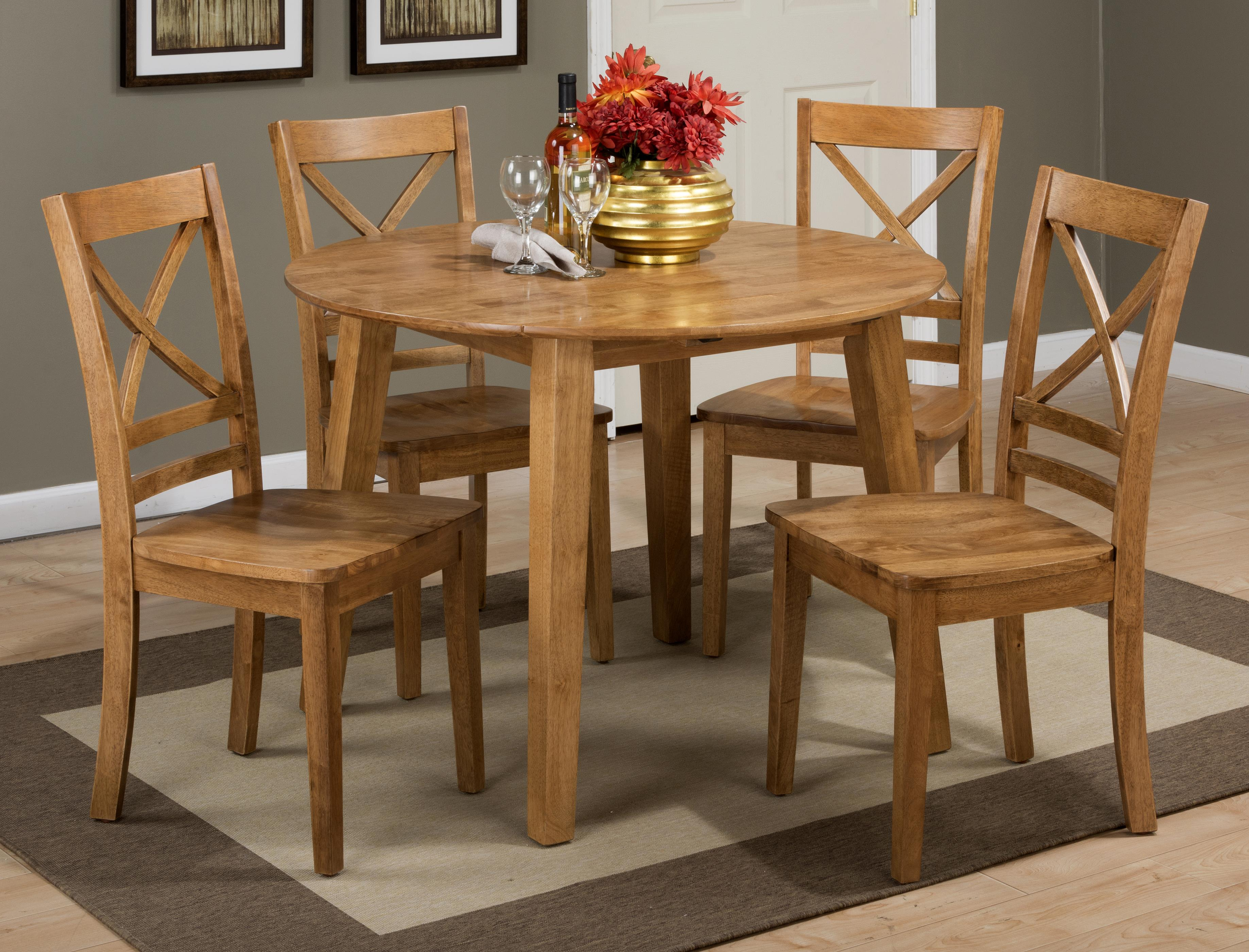 Simplicity Round Table and 4 Chair Set by Jofran at Jofran