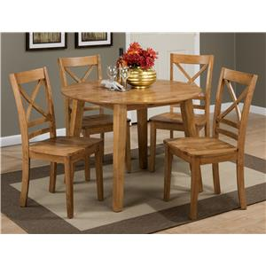 "Round Table and 4 Chair Set (with ""X"" Back Chairs)"