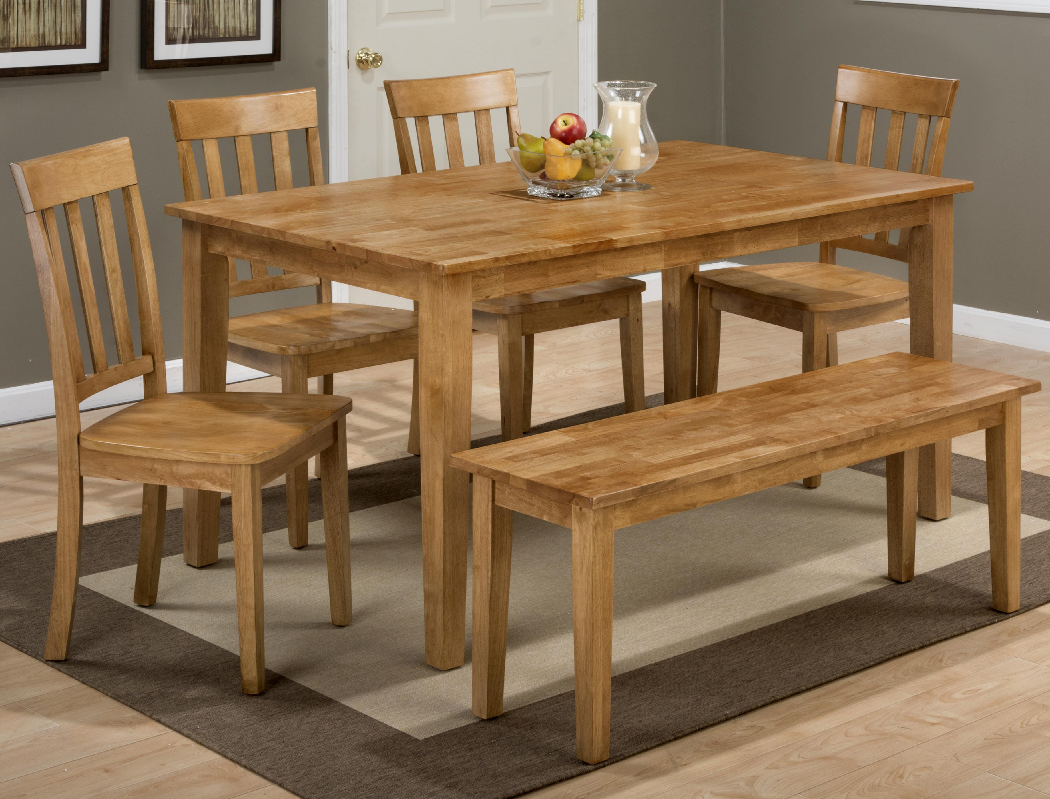 Simplicity Rectangle Dining Table Set with Bench by Jofran at Jofran