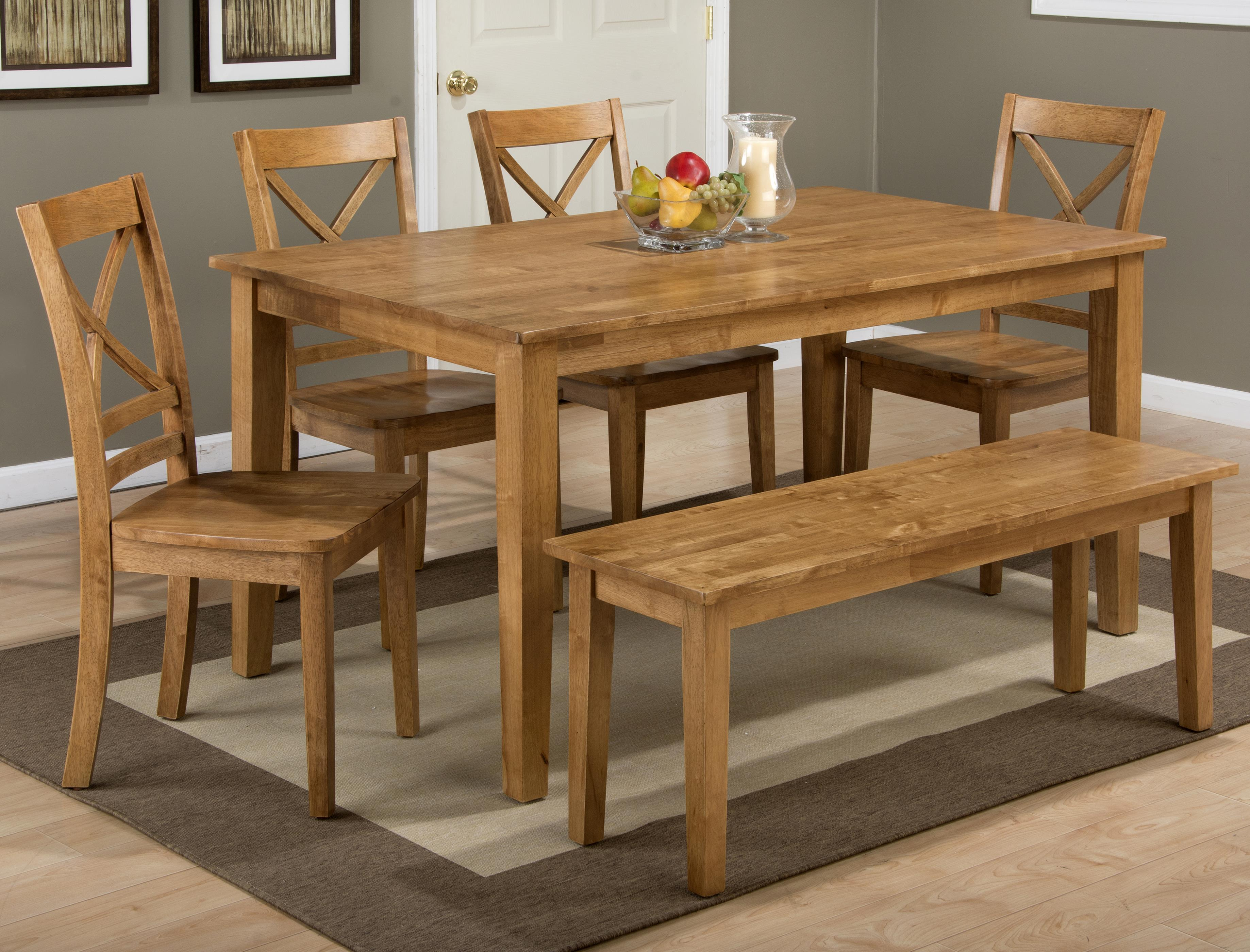Simplicity Rectangle Dining Table Set with Bench by Jofran at Simply Home by Lindy's