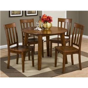 Round Table and 4 Chair Set (with Slat Back Chairs)